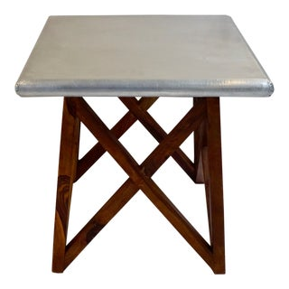 Zinc Top Side Table on Geometric Wooden Base For Sale