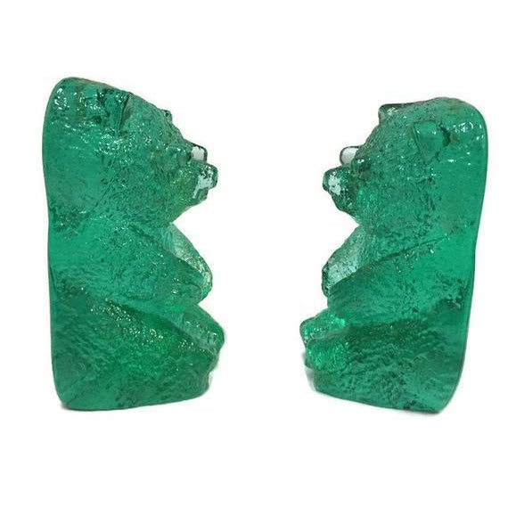 Boho Chic Vintage Blenko Glass Mint Green Bear Sculptures/Bookends - a Pair For Sale - Image 3 of 12