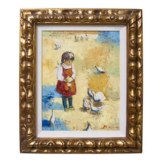 1940s Vintage Girl Feeding Chickens Signed Oil Painting Period Gilt Gold Frame For Sale