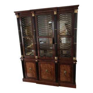 Baker Mahogany & Gilt Lighted China Breakfront Cabinet For Sale