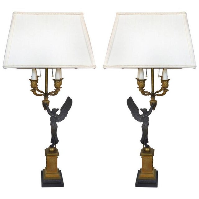 19th Century Bronze Candelabra Lamps, Pair For Sale - Image 11 of 11
