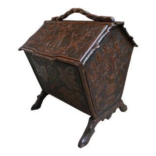 Early 19th Century Antique French Carved Oak Black Forest Box For Sale