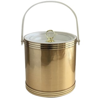 Vintage Gold & Lucite Ice Bucket For Sale