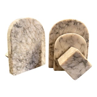 1960s Vintage Italian Ucagco Marble Bookends - a Pair For Sale