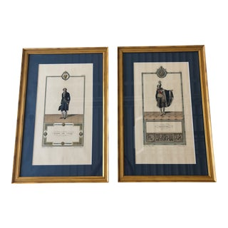 Late 20th Century Gold Framed French Men Prints - A Pair For Sale