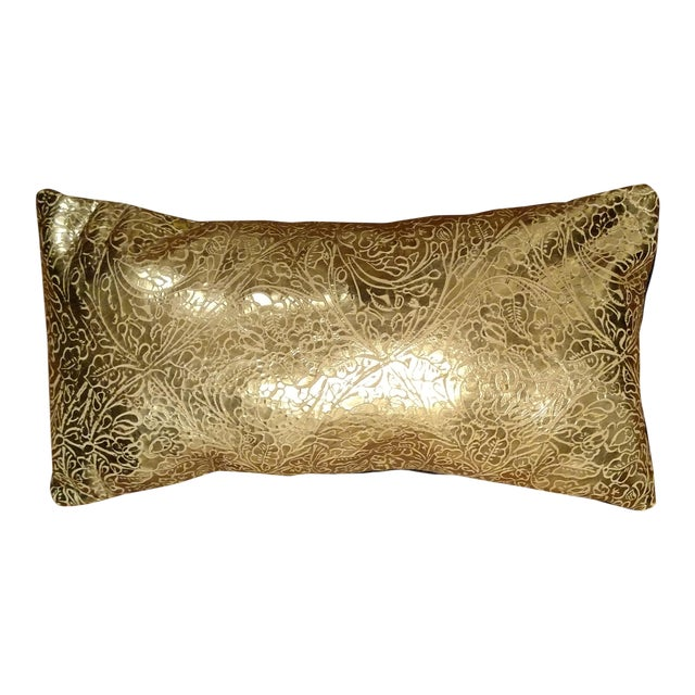 Gold Leather Pillow For Sale