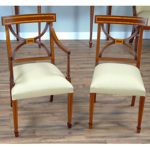 Wood Sheraton Inlaid Mahogany Arm Chairs - A Pair For Sale - Image 7 of 9