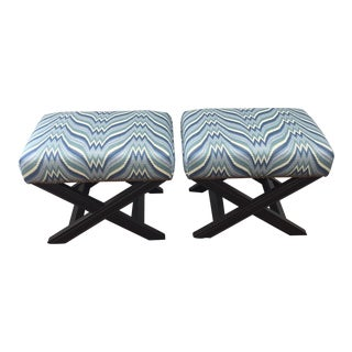 Brunschwig & Fils Upholstered Benches - a Pair For Sale