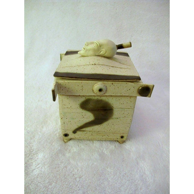 Tribal Kostas Ulevicius Tribal Spiritual Sculptural Face Pottery Box W/Lid For Sale - Image 3 of 10