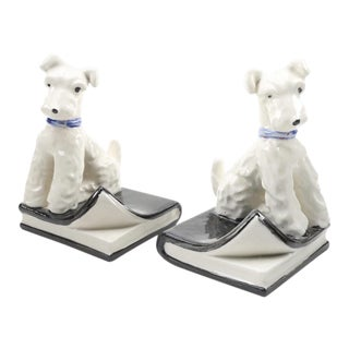 1930s Japanese Porcelain Wire Fox Terrier Bookends - a Pair For Sale