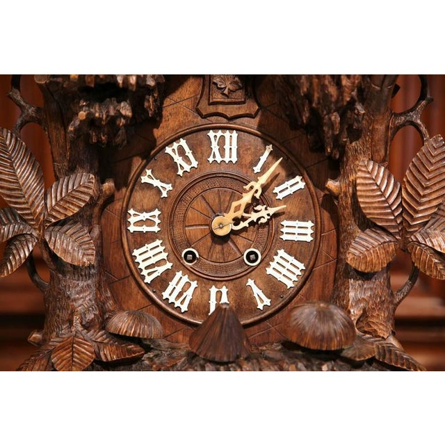 19th Century Black Forest Carved Walnut Cuckoo Clock - Set of 3 For Sale - Image 4 of 11