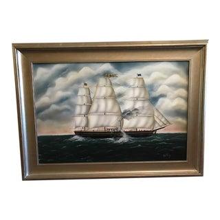 Silver Framed Original Ship Painting