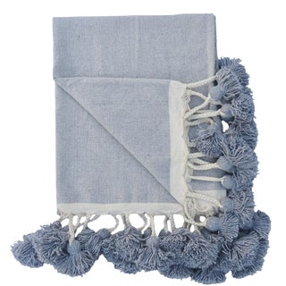 Moroccan Grey Woven Cotton Braided Pom Pom Blanket For Sale