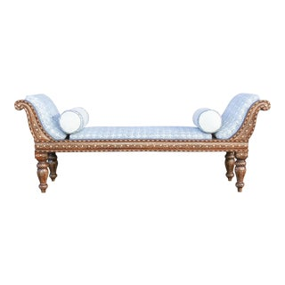 Exclusive Anglo Indian Bone Inlaid Chaise Lounge With Linen Block Print Upholstery For Sale