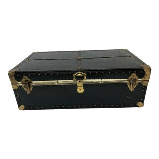 Vintage Vulcanized Black Steamer Trunk With Tray For Sale