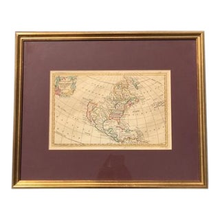 18th Century Antique Map of North America by George Rollos, Framed For Sale