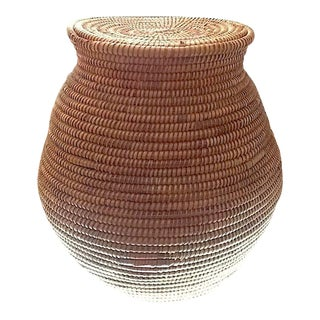 "Early-20th Century Native American Large Olla Form Basket With Lid 11.5"" For Sale"