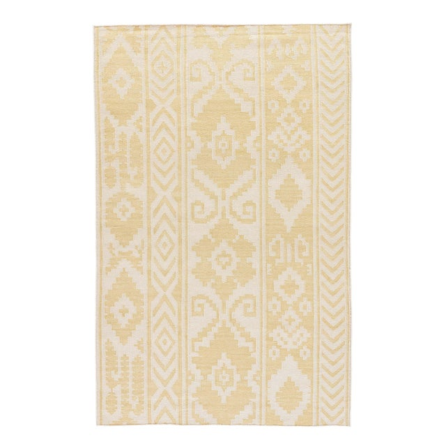 Jaipur Living Farid Handmade Ikat Yellow/ Cream Runner Rug - 2′6″ × 8′ For Sale