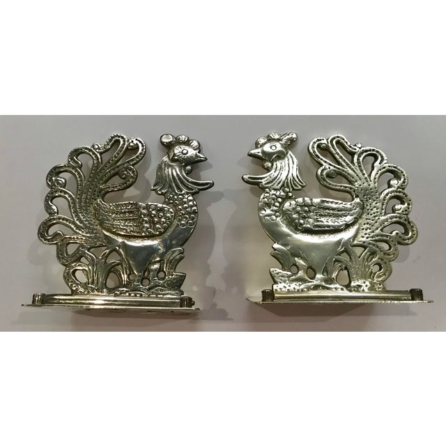 Gold Vintage Brass Rooster Bookends - A Pair For Sale - Image 8 of 11