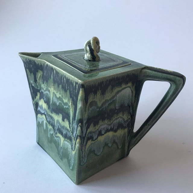 California Green Ceramic Drip Glaze Pitcher For Sale - Image 9 of 11