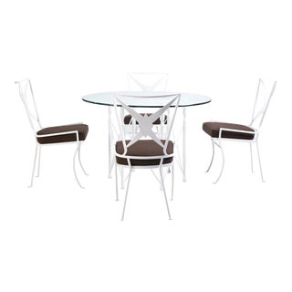 1950s Hollywood Regency Metal Dining Set, 5 Pieces For Sale