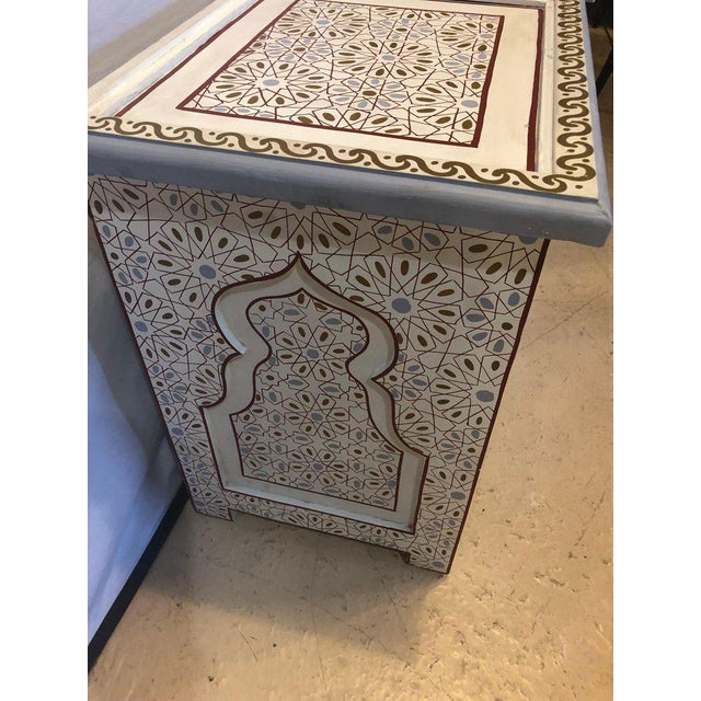 Glass Moorish Style White Blue-Gray and Burgundy Night Stands - a Pair For Sale - Image 7 of 12