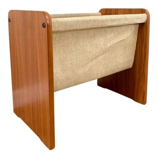 Mid Century Modern Danish Teak and Canvas Magazine Rack For Sale