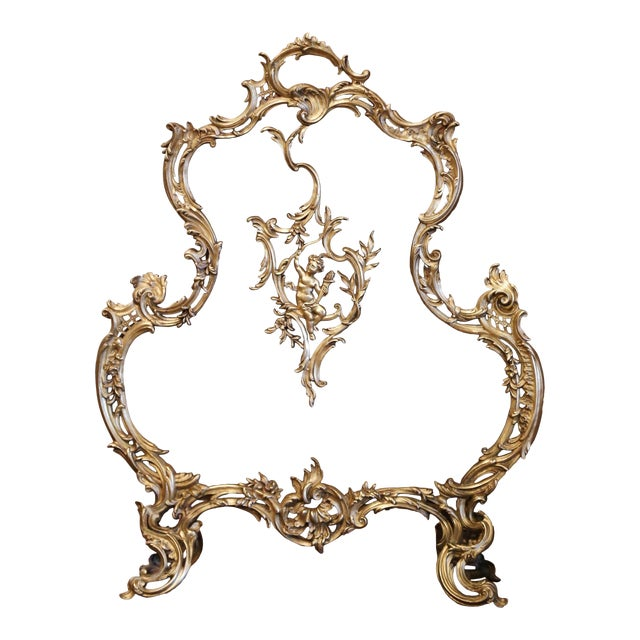 19th Century French Louis XV Bronze Doré Fireplace Screen With Cherub Motif For Sale