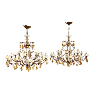 Antique Maison Bargues French Gilded Chandeliers With Glass Pear Accents - a Pair For Sale