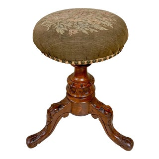 Antique Carved Needlepoint Piano Stool For Sale