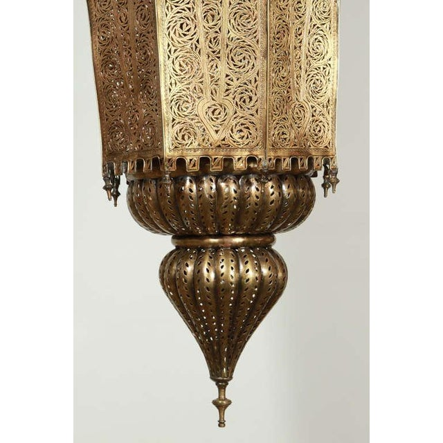 Oversized Moroccan Moorish Brass Chandelier For Sale - Image 4 of 10