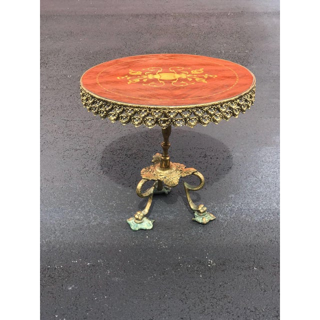 Mid-Century Modern 1940s Mid Century Modern Orange and Brass Side Tables - a Pair For Sale - Image 3 of 4