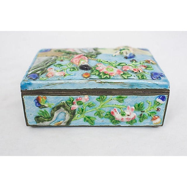 Late 19th Century Antique Enamelware Box For Sale - Image 5 of 8