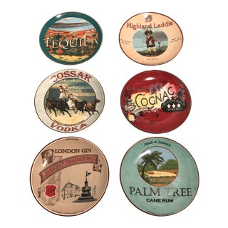 Porcelain Liquor Label Plates - Set of 6