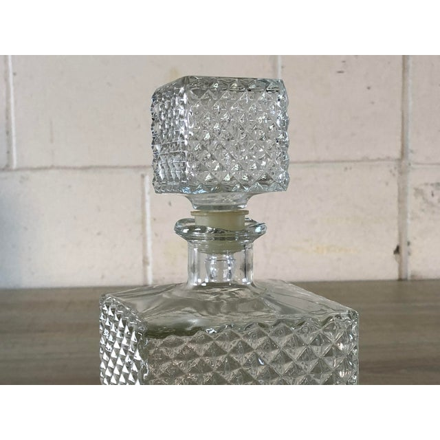 Mid-Century Modern Vintage Diamond Point Glass Decanter For Sale - Image 3 of 10