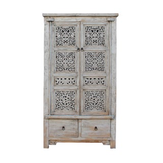 Chinese Distressed Off White Relief Carving Armoire Storage Cabinet For Sale