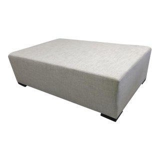 Upholstered Ottoman with Hidden Casters in Dedar Fabric For Sale