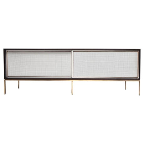 Customizable re: 379 Ebonized Walnut and Painted Cane Credenza For Sale