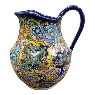 Late 20th Century Talavera Zepeda Mexican Pottery Pitcher For Sale