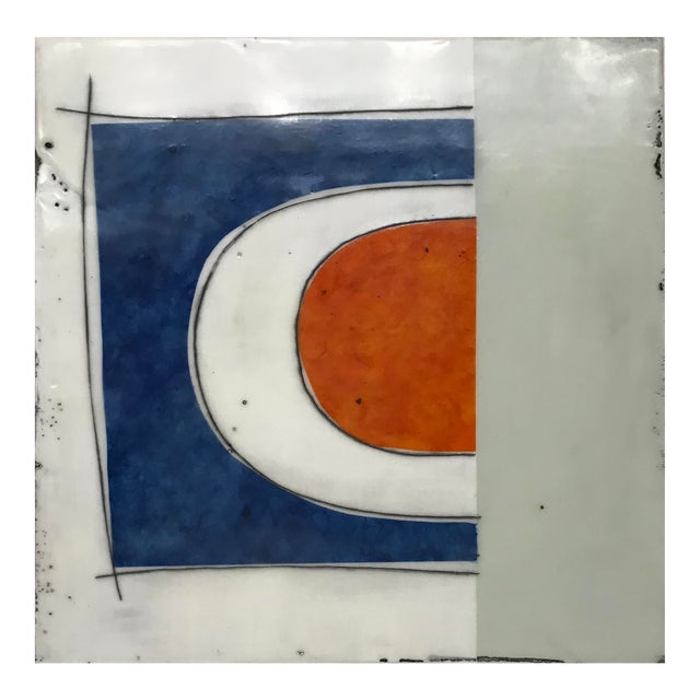 "Gina Cochran ""Perceptions No. 29"" Encaustic Collage Painting - Indigo & Orange For Sale"