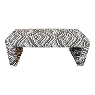 1980s Vintage Waterfall Bench in Agate Print For Sale