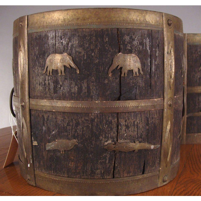 Rustic 1930s Antique Oak & Brass Jardinieres - a Pair For Sale - Image 3 of 6