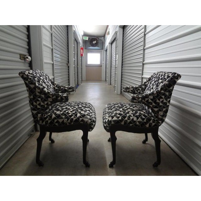 James Mont Inspired Ebonized Chairs With Hoof Feet-A Pair For Sale - Image 12 of 13
