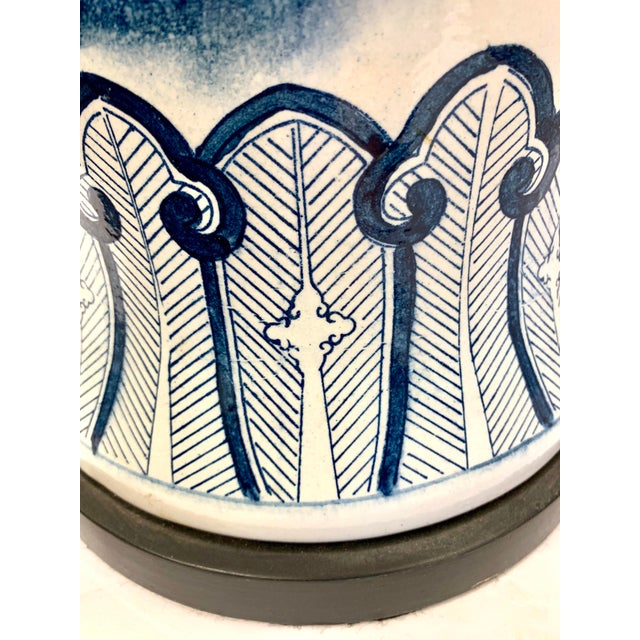Chapman Blue and White Chinoiserie Porcelain Lamp With Finial For Sale In New York - Image 6 of 10