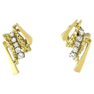 1960s Abstract Diamond & Gold Earrings For Sale