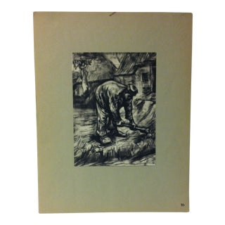"""Mounted Vintage Print on Paper, """"Peasant Working - 1885"""" - Circa 1930 For Sale"""