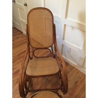 1960s Thonet Style Boho Chic Bentwood Cane Rocking Chair and Footstool - 2 Pieces Preview