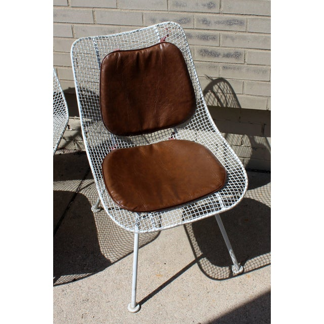 1950s Mid-Century Modern Woodard Sculptura Patio Table Set Two Chairs White Iron For Sale - Image 5 of 7
