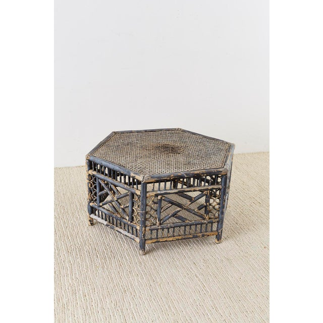 Wood Hexagonal Bamboo Brighton Chinese Chippendale Cocktail Table For Sale - Image 7 of 13