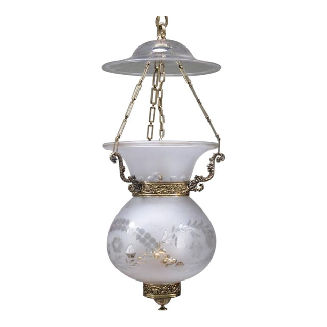 Early 19th Century English Regency Frosted and Etched Glass Bell Jar Lantern For Sale